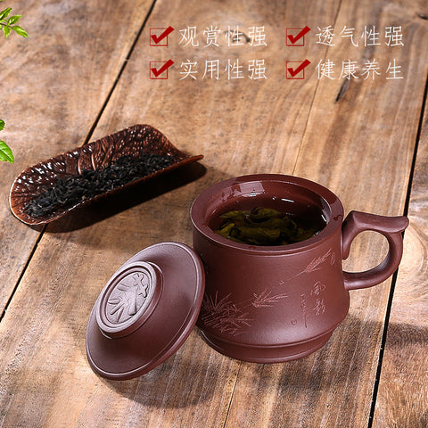 Purple sand cup handmade double tea cup