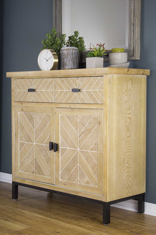 White Washed Parquet Wood Sideboard With Wood Drawers And Wood Doors