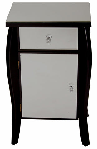 "18.75"" X 14.5"" X 30.45"" Black MDF Wood Mirrored Glass Tall Accent Cabinet With A Mirrored Glass Drawer And Door"
