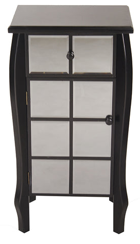 "17.3"" X 13"" X 32.7"" Black MDF Wood Mirrored Glass Accent Cabinet With Mirrored Drawer And Door"
