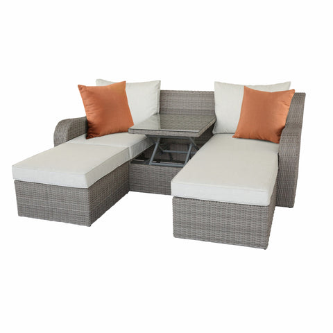 "82"" X 36"" X 30"" 3Pc Beige Fabric And Gray Wicker Patio Sectional And Ottoman Set"