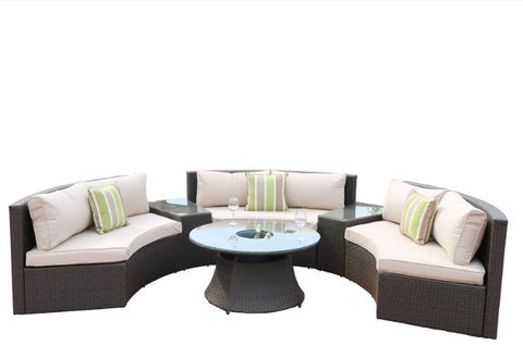 "126"" X 35"" 37"" Black 6Piece Half Moon Outdoor Sectional Set With Ice Bucket"