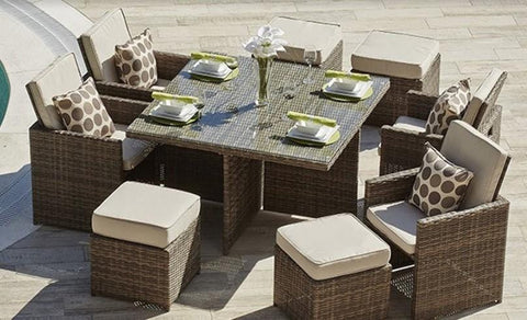 "101"" X 49"" X 45"" Brown 9-Piece Square Outdoor Dining Set With Beige Cushions"