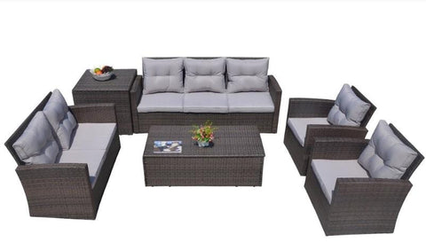 "118.56"" X 31.59"" X 14.82"" 6-Piece Patio Conversation Set With Cushions And Storage Boxs"