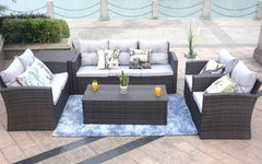 Brown 6-Piece Patio Conversation Set With Cushions And Storage Boxs 118.56