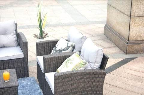 "Brown 6-Piece Patio Conversation Set With Cushions And Storage Boxs 118.56"" X 31.59"" X 14.82"""