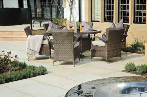 "211"" X 55"" X 32"" Brown 7-Piece Outdoor Dining Set With Washed Cushion"