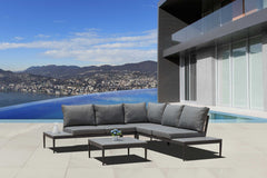 Outdoor Patio Furniture Set, Aluminum Sectional with coffee table, Grey Cushions Suit for Garden, Backyard, Lawn (Grey)