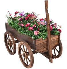 Mobile Half Barrel Solid Wood Planter Box on Wooden Wheels - 47.2