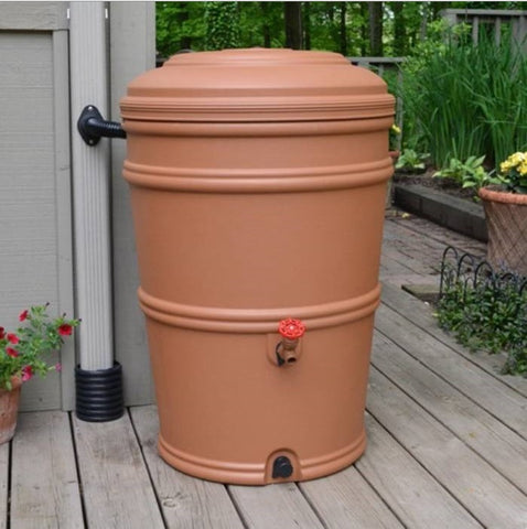 45-Gallon Plastic Rain Barrel - 23.5L x 23.5W x 33.5H