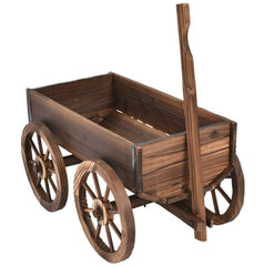 "Mobile Half Barrel Solid Wood Planter Box on Wooden Wheels - 47.2"" x 17.0"" x 21.0"""