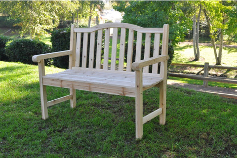 Outdoor Cedar Wood Garden Bench in Natural
