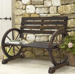 2 Person Farmhouse Wagon Wheel Wooden Bench - 41