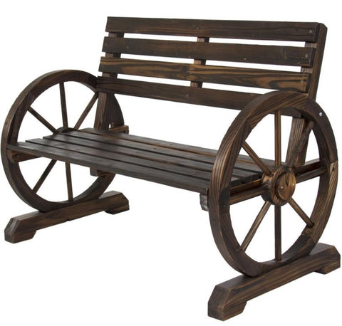"2 Person Farmhouse Wagon Wheel Wooden Bench - 41""(L) x 21.25""(W) x 30.5""(H)"