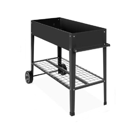 "Mobile Black Metal Garden Potting Bench with Push Handle Wheels 38."" x 16"" x 32"" (L x W x H)"