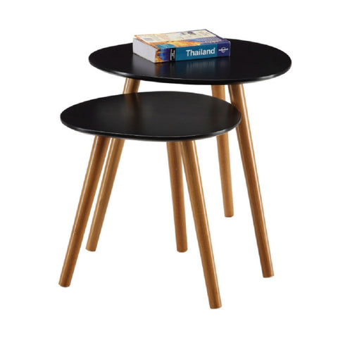 Set of 2 - Nesting Tables End Table in Black - 19 x 19 x 19