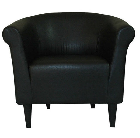 "Contemporary Classic Black Faux Leather Upholstered Club Chair - 32"" H x 30.5"" W x 27.5"" D"