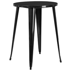Modern 30-inch Outdoor Round Metal Cafe Bar Patio Table in Black