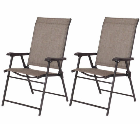 "Set of 2 Outdoor Folding Patio Chairs in Brown 36.38"" x 24"" x 35.4"""