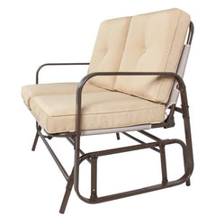 UV-Resistant Beige 2 Seater Ergo Patio Glider Loveseat Rocking Chair Bench