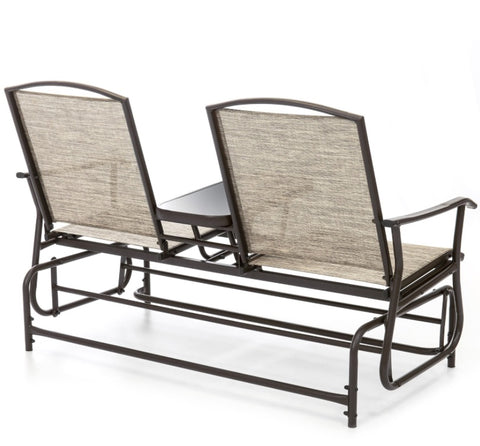 "Brown 2-Seater Outdoor Mesh Double Glider - 57.5""(L) x 28""(W) x 38""(H)"