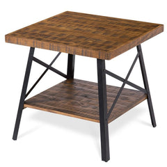 Modern Industrial Solid Wood End Table with Shelf and Metal Legs - 24 x 24 x 23H