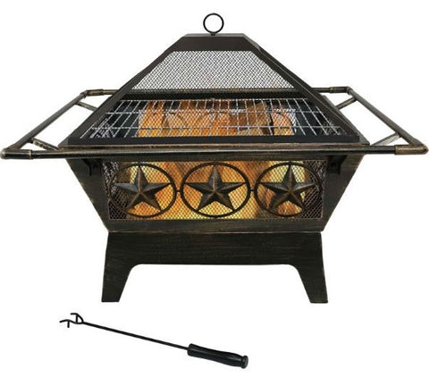 Square Outdoor Steel Wood Burning Fire Pit - 26'' H x 32'' W x 32'' D