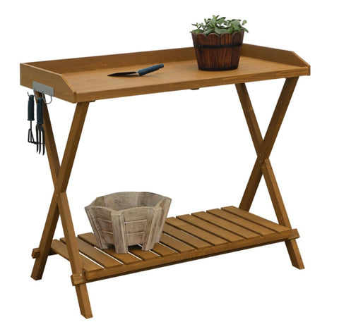 Outdoor Garden Table Potting Bench with Slatted Bottom - 46.5'' H x 15.75'' W x 33'' D