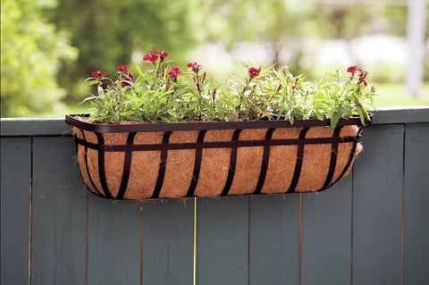 Window/Deck Planter with Coco Liner in Black, 30-inch