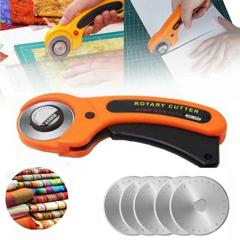 45mm Round Rotary Cutter Grip Sewing Quilting Roller Fabric DIY Craft Leather Plastic Cutting Tool with 5pcs Refill Blades