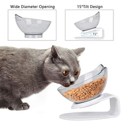 Non slip Double Cat Bowl with stand cat bowls Protect Cervical Vertebra Tilt cat food bowl Transparent AS Material Pet Products