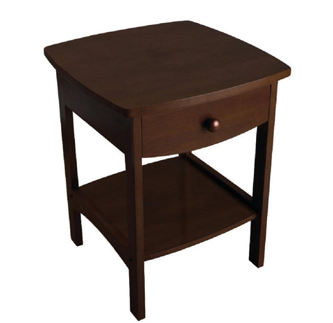 "Walnut Finish Accent Table Nightstand with One Drawer ""18 x 18 x 22"""