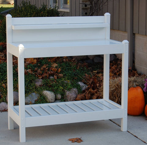 8L x 19.5W x 49H in White PVC Vinyl Potting Bench Outdoor Garden Bakers Rack
