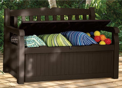 Outdoor Garden Bench with Arm Rest and Storage Box - 54.6 x 23.4 x 32.8