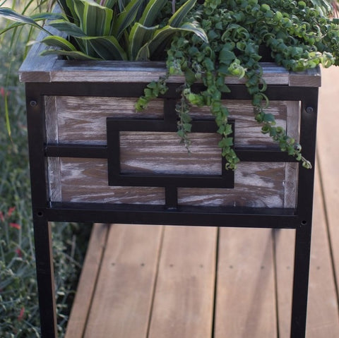 Sturdy Wood and Metal Raised Planter - 36L x 18W x 29.5H