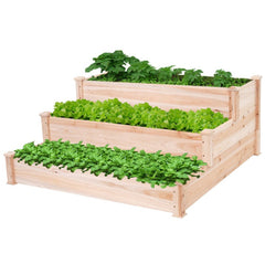 "Solid Wood 4 Ft x 4 Ft Raised Garden Bed Planter 3-Tier - 48.5"" x 48.5"" x 21.7"""