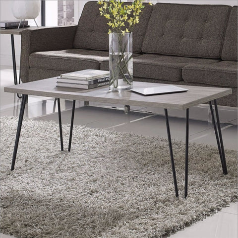 "Modern Classic Vintage Style Coffee Table with Wood Top and Metal Legs - 18"" H x 41.97"" W x 19.49"" D"
