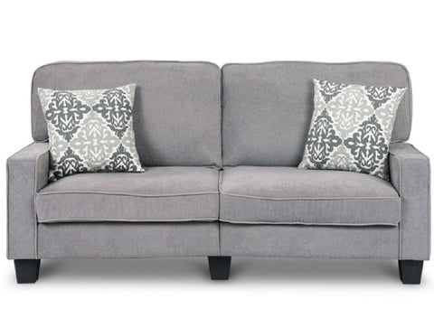 "Classic Grey Fabric Loveseat Sofa with Armrests - 69"" x 31"" x 35"""