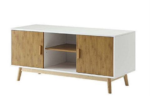 Modern 47-inch Solid Wood TV Stand in White Finish and Mid-Century Legs - 47.25W x 17.75D x 21.63H