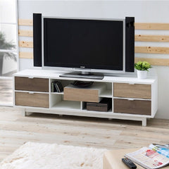 Modern 70-inch White TV Stand Entertainment Center - 70.8 x 15.7 x 21.8