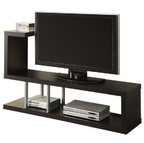 "Modern Entertainment Center TV Stand in Cappuccino Finish - 33"" x 60"" x 15.5"""