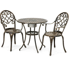 3-Piece Patio Furniture Bistro Set in Antique Copper Finish