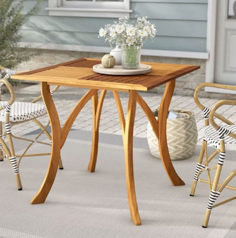 Outdoor Solid Wood 31.5 inch Square Patio Dining Table - 29.5'' H x 31.5'' W x 31.5'' D