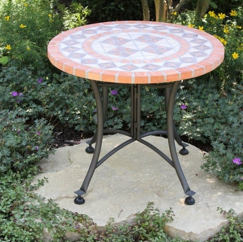 24-inch Round Bistro Style Mosaic Terracotta Tile Outdoor Patio Table