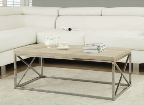 "Modern Rectangular Coffee Table with Natural Wood Top and Metal Legs - 16"" H x 26"" W x 44"" D"
