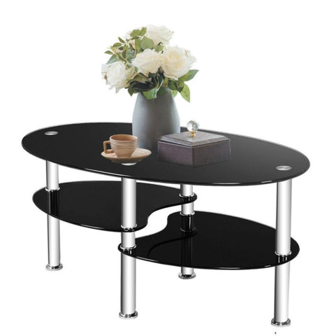 "Modern Black Tempered Glass Coffee Table -35"" x 20"" x 18"""