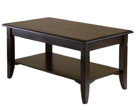 "Rectangle Wood Coffee Table in Cappuccino Finish - 18"" H x 37"" W x 21"" D"