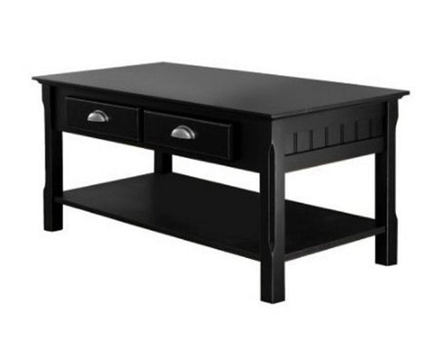 Black Wood Coffee Table with 2 Storage Drawers