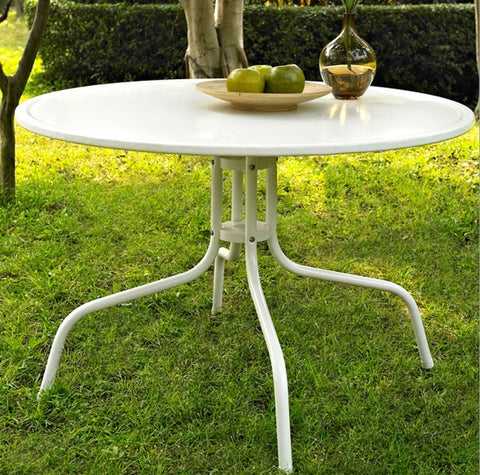 "Round Patio Dining Table in White Outdoor UV Resistant Metal 25"" H x 40"" L x 40"" W"