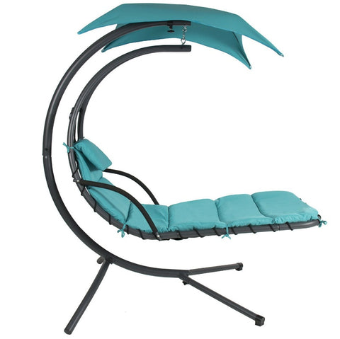 Teal Sturdy Modern Chaise Lounger Hammock Chair Porch Swing